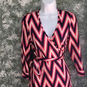 Julie Brown Pink Navy Blue & White Wrap Dress